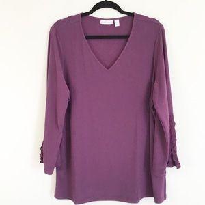 Susan Graver purple blouse with lace detail